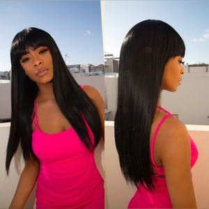 BRAND NEW Quality Silky Straight Black Bang Wig